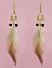 F2150 vogue Feather bead golden chain noble cute dangle chandelier earrings New