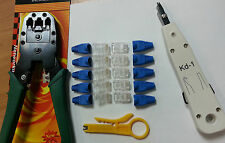 LAN KIT RJ45 Crimper Tool +10 Crimp Ends & Boots +Krone style punch +stripper