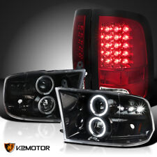 Jet Black 09-18 Ram 1500 2500 3500 Halo Projector LED Headlights+Red Tail Lamps