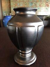 "Stately 10"" Gun Metal Glaze Urn Vase Gladding McBean?"