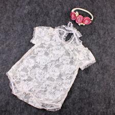 Neugeborenes Baby White Lace Bodysuit Stirnband Kostüm Foto Fotografie