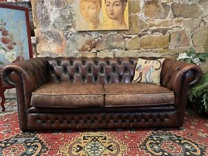 Vintage Aged Leather 3 seater Chesterfield Lounge Chair-Sofa- Brown~Gascoigne