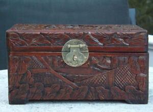 "Hand Carved Wood Trinket Box Asian 9x5x5"" EXC"