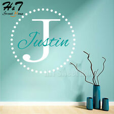 Circle Dots Monogram Personalized Family Name Vinyl Wall Sticker Decal Kid Room