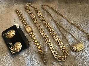 1928 Brand Lot of 4 Gold Tone Necklaces, Watch, and Earrings