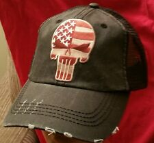 USA PUNISHER Flag Cap Unstructured Distressed Washed Cotton Twill Mesh Hat