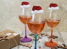 10 SANTA Hat wine glass decorations - Christmas table Place Name Cards Paper ~`~