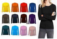 New Womens Long Sleeve Round Neck Plain Basic Ladies Stretch T-Shirt Top Rnck