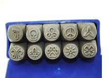Set x 10 Metal Stamp Punches Skull Peace Paw Sun Butterfly Flower Swirl J1291