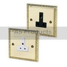 Georgian Brass 1-Gang Plug Socket Home Electrical Fittings