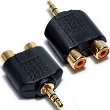 Conector de 3.5 mm Plug A 2 RCA/Phono adapter-phone Tv Amp macho de audio aux Convertidor Pc
