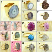 Solar Quartz Herkimer Diamond Labradorite Gold Plated Adjustable Ring Jewelry