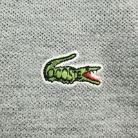 VINTAGE 80's LACOSTE Large Mens Polo Shirt Long Sleeve Gray Pique Cotton Golf