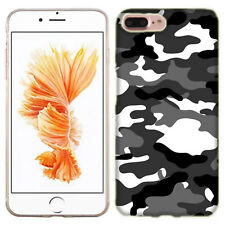 For Apple iPhone 7 PLUS Grey Camo Case Skin Cover