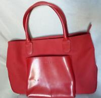 LANCEL RED NYLON LEATHER TOTE BAG