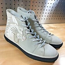 NEW $398 FRYE GATES HIGH TIGER TATTOO Men's Leather Sneakers White Size 9.5