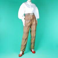VINTAGE 80's 90's Grunge Brown Straight Beige Retro Boho Trousers Pants 10 12