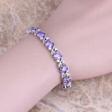 "Sterling Silver Purple Amethyst White Topaz Tennis Bracelet Curved cross 7"""