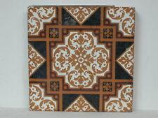 "1860 - 1880 Campbell 6"" x 6"" Glazed Geometric Art Tile In Black, White & Brown"