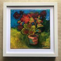 Print on textured art board canvas oil painting pelargonium contemporary FRAMED
