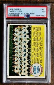 1958 TOPPS  # 397 TIGERS TEAM (ALPHABETICAL)  PSA  7   NICE!!!!