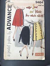 "VTG 1950's/60's Advance Sewing Pattern #9464 Skirt Waist 24"" Uncut FF"