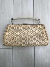 Vintage Straw Clutch 11.5inches Long Beuge Neutral Pleather Lining