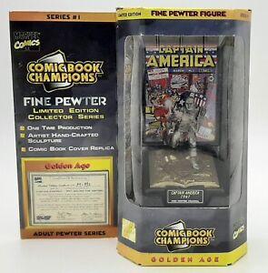 NIP 1995 Comic Book Champions Golden Age Captain America 1941 Pewter Figure