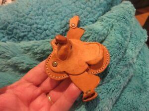 Vintage Toy Miniature Leather Horse Saddle for Mini Toy Pony/Horse Light Tan