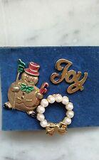 Trio of Christmas Pins Joy-Faux Pearl Wreath & Snowman