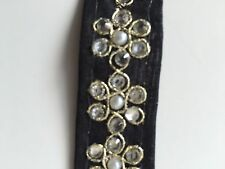 ATTRACTIVE INDIAN PEARL and SILVER FLORAL FABRIC LACE TRIM (BLACK -SOLD by METRE