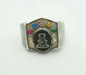 Vintage Sterling Silver Black Onyx Initial Letter A Signet Mens Ring Size 10.75