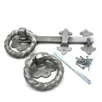 """LARGE 10"""" 250mm HEAVY DUTY TWISTED RING GATE LATCH SET GALVANISED INC. FIXINGS"""