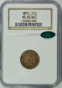 1879 Indian Cent – NGC MS64BN CAC Beautiful Coin