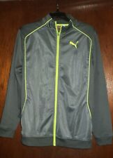 Boys PUMA Sport Track Jacket Size XL Gray & Lime Green