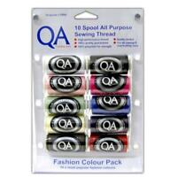 QA All Purpose Sewing Thread  10 Pack x 500 meter Mixed COLOURS sew ALL thread