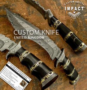 IMPACT CUTLERY RARE CUSTOM SUB HILTED DAMASCUS BOWIE KNIFE BULL HORN HANDLE
