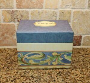 Pfaltzgraff VILLA DELLA LUNA cardboard recipe file box RARE Blue Leafy scrolls