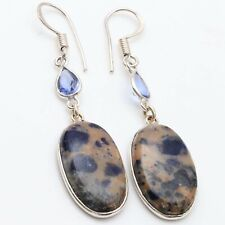 "Earrings Size 2.5"" Jewelry T9542 Sodalite Blue Quartz Handmade Silver Plated"
