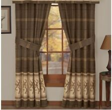 "Browning Buckmark Original Tan Lined Curtains 42"" x 87"" Deer Logo Cabin Plaid"