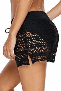 Women High Waist Swim Shorts+Briefs Bikini Tankini Bottom Pants Lace Swimsuit