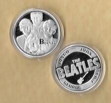 THE BEATLES Silver Plated Memorabilia Coin John Paul  Ringo George Fab 4