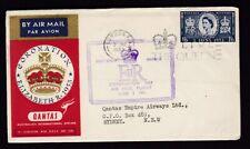 1953 3rd June Coronation Day Qantas Flight cover + cachet + slogan to Australia