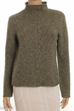 MARIELE WAITHE Moss Green Heather Soft 100% 2-Ply Cashmere Mock Neck Sweater S