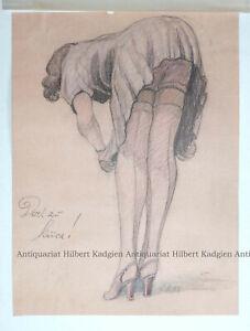 """HILLMANN """"Doch zu kurz!"""" Farbige Zeichnung 1941"""