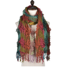 Multi Colour Stretchy Textured Scarf with Greens, Blues and Pinks
