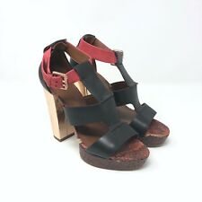 Boutique 9 Rivington Heels Platform Sandals Dark Brown Pink Metallic Size 7.5