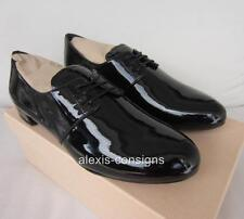 NIB Prada Black Patent Leather Lace-Up Oxford Flat Shoe Sz 40/10