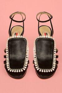 OPENING CEREMONY Chloe Sevigny Black Pearl Heels Shoes