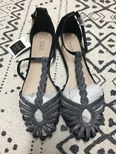 BNWT Zara Silver Glitter Cage Sandals Jelly Shoes Flats 40 7